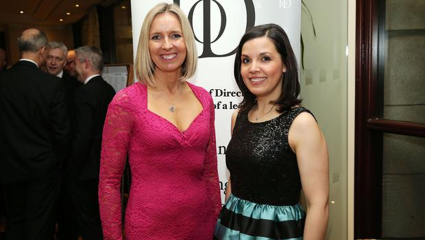 Gillian Hetherington and Kat Lunn at the Institute of Directors NI Annual Dinner at the Europa Hotel on Thursday night. Sponsored by Bank of Ireland and Arthur Cox, the event is the highlight of the local business calendar and was attended by over 250 people.  Picture by Kelvin Boyes / Press Eye.