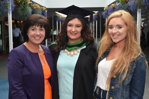 Ulster University Graduations-Coleraine Capmpus-05-07-15 Jackie McCardle with Aoife McCardle who graduated in Bio Medical Science and Maeve McCardle. Photo by Simon Graham/Harrison Photography