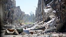 A general view taken on April 6, 2015 shows destruction in Yarmuk Palestinian refugee camp in the Syrian capital, Damascus. Around 2,000 people have been evacuated from the Yarmuk Palestinian refugee camp in Damascus after the Islamic State group seized large parts of it, a Palestinian official told AFP. AFP/Getty Images