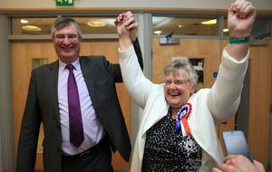 Rosemary Barton (UUP) being congratulated by Tom Elliott, MP during The Northern Ireland Assembly Election 2016 at Omagh Leisure Centre.  picture by John McVitty / Press Eye