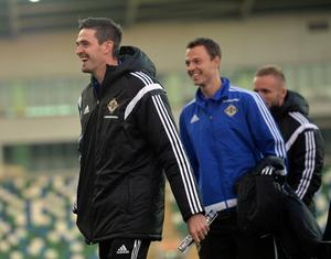 PACEMAKER BELFAST   08/10/2015 Northern Ireland v Greece    Euro 2016 Qualifier Group    Group F Northern Ireland's  Jonny Evans and Kyle Lafferty during this evenings game at Windsor park in Belfast. Photo Colm Lenaghan/Pacemaker Press