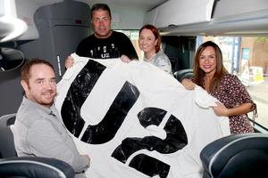 U2 fans heading from Europa bus station to see U2's The Joshua Tree Tour 2017. L-R are Paddy O'Flahery, Kevin Kane, Michellle Kane, and Isleen O'Flaherty holding a homemade U2 flag. Pic: Liam McBurney/RAZORPIX