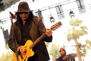INDIO, CA - APRIL 14:  Musician Rodriguez performs onstage during day 3 of the 2013 Coachella Valley Music & Arts Festival at the Empire Polo Club on April 14, 2013 in Indio, California.  (Photo by Karl Walter/Getty Images for Coachella)
