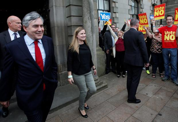 Former Prime Minister Gordon Brown leaves a campaign event at Clydebank Town Hall in Scotland as the campaign ahead of the Scottish independence referendum enters its final days. PRESS ASSOCIATION Photo. Picture date: Tuesday September 16, 2014. See PA story REFERENDUM  Main. Photo credit should read: Danny Lawson/PA Wire