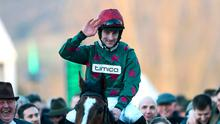 Home first: Brian Hughes onboard Mister Whitaker after winning at the Cheltenham Festival in 2018