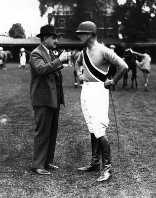 11th May 1937: Lord Louis Mountbatten chats to a spectator at a polo match at Hurlingham. (Photo by Fox Photos/Getty Images)