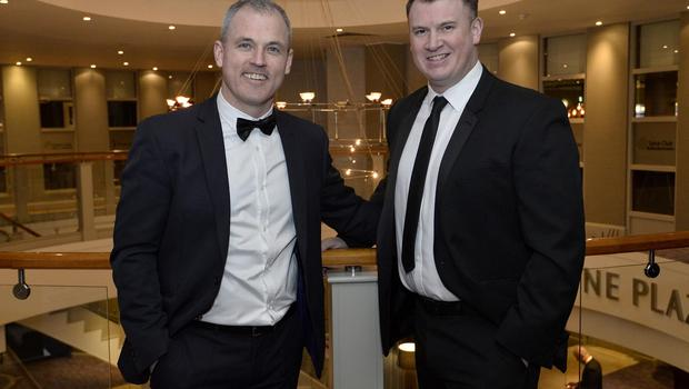 Press Eye - Belfast - Northern Ireland - 20th January  2020  Leo Fennell and Paul Hannah pictured at the 2019 Belfast Telegraph Sport Awards at the Crowne Plaza Hotel in Belfast. Photo by Stephen Hamilton / Press Eye.