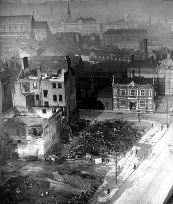 WORLD WAR II: BELFAST AIR RAIDS. VICTORIA STREET. 4/5 May 1941. Waring Street corner as seen from 'the Albert'. AR 179.