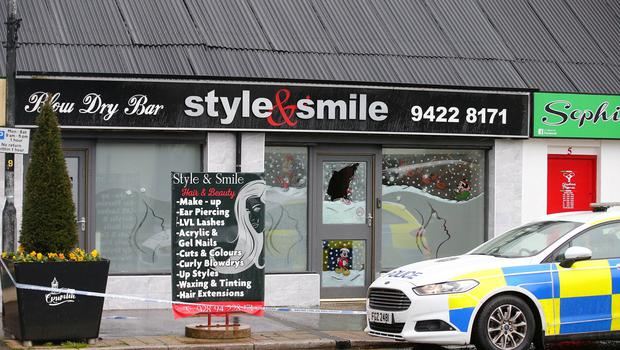 The scene on main street in Crumlin, Co Antrim, where shots were fired through the window of a hairdressers in the early hours of November 26