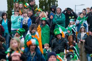 Part of the crowd who lined the route at the All KInds of Everything Spring Carnival in Derry~Londonderry as part of a weekend of celebrations marking St. Patrick's Day. Picture Martin McKeown. 17.3.13