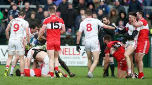 Battle stations: There is no love lost when neighbours Derry and Tyrone lock horns, no matter what the occasion