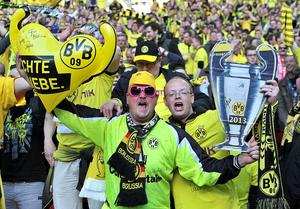 Borussia Dortmund fans in the stands during the UEFA Champions League Final at Wembley Stadium, London. PRESS ASSOCIATION Photo. Picture date: Saturday May 25, 2013.