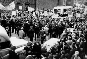 Civil rights marchers are confronted by police in Londonderry in October 1968