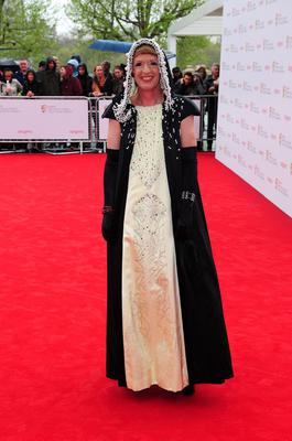 Grayson Perry arriving for the 2013 Arqiva British Academy Television Awards at the Royal Festival Hall, London. PRESS ASSOCIATION Photo. Picture date: Sunday May 12, 2013. See PA story SHOWBIZ Bafta. Photo credit should read: Ian West/PA Wire