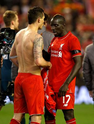 Liverpool's Mamadou Sakho and Dejan Lovren (left) after the UEFA Europa League Quarter Final, Second Leg match at Anfield, Liverpool. PRESS ASSOCIATION Photo. Picture date: Thursday April 14, 2016. See PA story SOCCER Liverpool. Photo credit should read: Peter Byrne/PA Wire