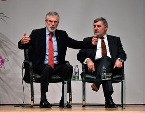 BELFAST, NORTHERN IRELAND - APRIL 10: Former Sinn Fein president Gerry Adams (L) speaks while alongside Lord John Alderdice at a panel discussion event to mark the 20th anniversary of the Good Friday Agreement at Queens university on April 10, 2018 in Belfast, Northern Ireland. The event, 'Building Peace: 20 years on from the Belfast/Good Friday Agreement' has been organised by the Senator George J. Mitchell Institute for Global Peace, Security and Justice. (Photo by Charles McQuillan/Getty Images)