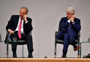 BELFAST, NORTHERN IRELAND - APRIL 10: Former US President Bill Clinton (R) along with former British Prime Minister Tony Blair attend an event to mark the 20th anniversary of the Good Friday Agreement at Queens university on April 10, 2018 in Belfast, Northern Ireland. The event, 'Building Peace: 20 years on from the Belfast/Good Friday Agreement' has been organised by the Senator George J. Mitchell Institute for Global Peace, Security and Justice. (Photo by Charles McQuillan/Getty Images)