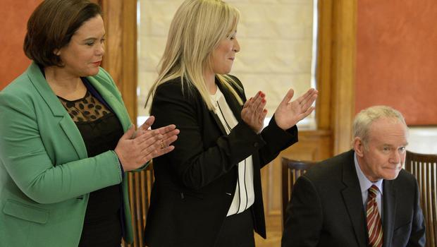 Sinn Féin MLA Michelle ONeill pictured at Stormont as she is announced as the new leader of the party in the north. Outgoing leader in the North  Martin McGuinness Photograph by Presseye/Cameron  Hamilton