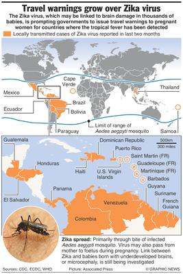 Graphic shows countries with locally transmitted cases of the Zika virus reported in the last two months, and geographic range of the Aedes aegypti mosquito