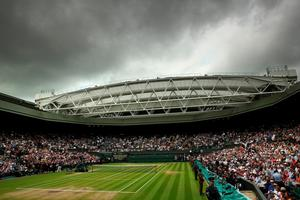 LONDON, ENGLAND - JULY 10:  (EDITORS NOTE: A graduated filter was used on this image) A general view of Centre Court prior to the Men's Singles Final between Andy Murray of Great Britain and Milos Raonic of Canada on day thirteen of the Wimbledon Lawn Tennis Championships at the All England Lawn Tennis and Croquet Club on July 10, 2016 in London, England.  (Photo by Clive Brunskill/Getty Images)