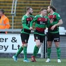 Glentoran new-boys Keith Cowan (right) and Caolan Marron (centre) could yet be joined by more recruits this month.