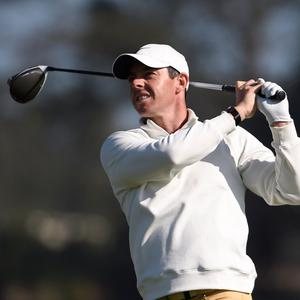 Rory McIlroy, of Northern Ireland, hits his tee shot on the 14th hole of the North Course at Torrey Pines Golf Course during the first round of the Farmers Insurance golf tournament Thursday Jan. 23, 2020, in San Diego. (AP Photo/Denis Poroy)