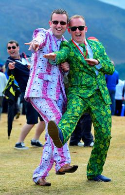 NEWCASTLE, NORTHERN IRELAND - MAY 29:  Gary McShane and Ciaran Murphy (R), winners of the Emirates Wacky Trousers' day at the Dubai Duty Free Irish Open hosted by the Rory Foundation at Royal County Down Golf Club on May 29, 2015 in Newcastle, Northern Ireland. (Photo by Mark Runnacles/Getty Images)