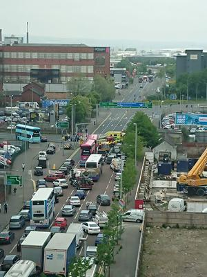 An accident on Great Georges Street has caused long tailbacks. Credit: Alan Darrah.