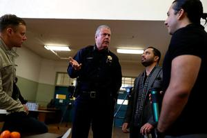 OAKLAND, CA - FEBRUARY 16:  Oakland School Police chief Jeff Godown (C) talks with Oakland Unified School District staff during an active shooter training at Cole Elementary School on February 16, 2018 in Oakland, California. Days after a gunman opened fire and killed 17 students at Marjory Stoneman Douglas High School in Parkland, Florida, teachers and staff with the Oakland Unified School District participated in an active shooter training that discussed strategies on how to deal with active shooter situations in schools. The training had already been scheduled prior to the Florida shooting.  (Photo by Justin Sullivan/Getty Images)