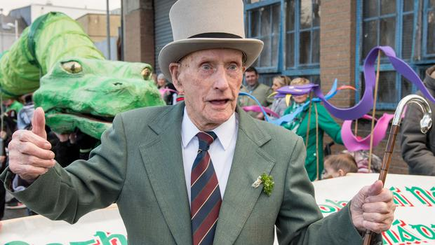 Strabane's oldest resident, one hundred and one years old Pat Gillespie who led the St. Patrick's Day Spring Carnival parade in Strabane. Picture Martin McKeown. Inpresspics.com. 17.03.19