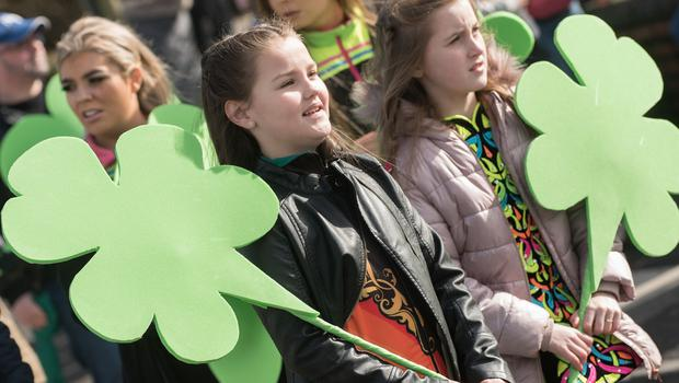 Some of teh Irish dancers who took part in the St. Patrick's Day Spring Carnival parade in Strabane. Picture Martin McKeown. Inpresspics.com. 17.03.19