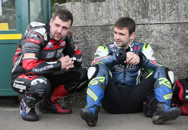 PACEMAKER, BELFAST, 25/8/2017: Michael and William Dunlop at Classic TT practice tonight. PICTURE BY STEPHEN DAVISON