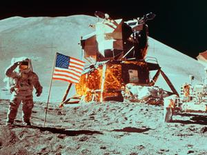 Moonshot: an Apollo astronaut salutes the American flag on the surface of the Moon in the 1970s