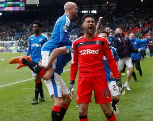 Rangers goal keeper Wes Foderingham celebrates victory after the William Hill Scottish Cup semi-final match at Hampden Park, Glasgow. PRESS ASSOCIATION Photo. Picture date: Sunday April 17, 2016. See PA story SOCCER Rangers. Photo credit should read: Danny Lawson/PA Wire. EDITORIAL USE ONLY