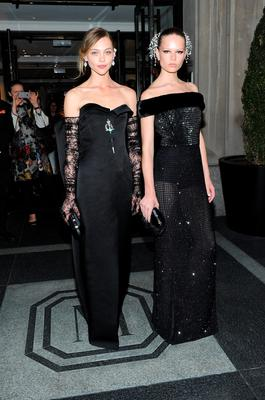 NEW YORK, NY - MAY 04:  Sasha Pivovarova (L) and Anna Ewers depart The Mark Hotel for the Met Gala at the Metropolitan Museum of Art on May 4, 2015 in New York City.  (Photo by Andrew Toth/Getty Images for The Mark Hotel)