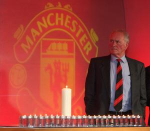 Handout photo supplied by Manchester United via Getty Images of Harry Gregg during the memorial service to mark the 50th anniversary of the Munich Air Disaster at Old Trafford in Manchester. Pic: John Peters/Manchester United/PA Wire