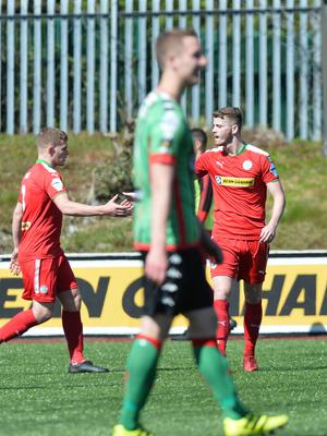 PACEMAKER BELFAST   12/05/2018 Cliftonville v Glentoran Europa league Play Off CliftonvilleÕs Rory Donnelly scores  during this afternoons game at Solitude in Belfast. Photo Colm Lenaghan/Pacemaker Press
