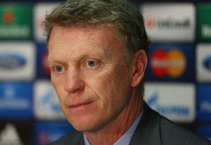 MANCHESTER, ENGLAND - MARCH 31:  David Moyes the manager of Manchester United looks on as he faces the media during a press conference at Old Trafford on March 31, 2014 in Manchester, England.  (Photo by Alex Livesey/Getty Images)