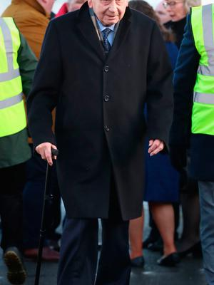 Joe Hendron attends the funeral of Seamus Mallon, the former deputy first minister of Northern Ireland, at Saint James of Jerusalem Church in Mullaghbrack, Co Armagh. PA Photo. Picture date: Monday January 27, 2020. See PA story FUNERAL Mallon. Photo credit should read: Liam McBurney/PA Wire