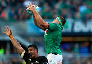 CHICAGO, IL - NOVEMBER 05:  CJ Stander of Ireland wins lineout ball during the international match between Ireland and New Zealand at Soldier Field on November 5, 2016 in Chicago, United States.  (Photo by Phil Walter/Getty Images)