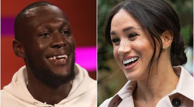 Stormzy and the Duchess of Sussex (PA)