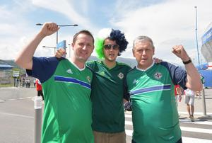 Northern Ireland v Poland Euro 2016 Group C Northern Ireland Fans David , Stuart and  Colin Bell  at   this afternoons Euro 2016 International  at the Allianz stadium in Nice on Sunday. Pic Colm Lenaghan/Pacemaker
