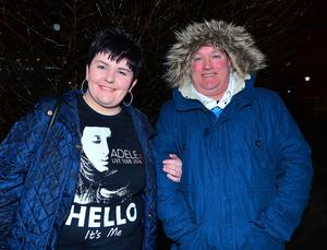 Fans of Adele Joanne and Ted Addis from Belfast patiently waiting to get into the SSE arena in Belfast for this evenings opening night of her World Tour. Picture By: Arthur Allison/Pacemaker Press