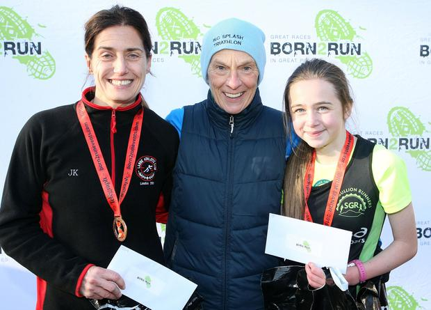 Mandatory Credit - Picture by Freddie Parkinson/Press Eye © Saturday 19th November 2016 Belfast Telegraph Run Forest Run Drum Manor Forest Park, Drum Road, Cookstown BT80 9RT Womens 5K winners Julie Ann Keane (2nd), Anne Paul (1st) and Eva Winters (3rd)