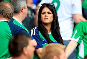 Juneve Lamont, wife of Northern Ireland's Stuart Dallas in the stands before the UEFA Euro 2016, Group C match at the Parc Des Princes, Paris. PRESS ASSOCIATION Photo. Picture date: Tuesday June 21, 2016. See PA story SOCCER N Ireland. Photo credit should read: Mike Egerton/PA Wire. RESTRICTIONS: Use subject to restrictions. Editorial use only. Book and magazine sales permitted providing not solely devoted to any one team/player/match. No commercial use. Call +44 (0)1158 447447 for further information.