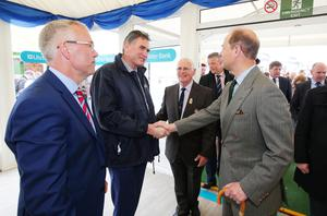 Prince Edward, Earl of Wessex is pictured at Balmoral Show with Ross McEwan, centre, Chief Executive of the Ulster Bank parent brand RBS and Richard Donnan, Ulster BankÕs Head of Northern Ireland. Photo by Kelvin Boyes / Press Eye.