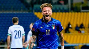Italy's Ciro Immobile celebrates doubling the scores in Parma.