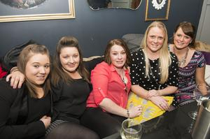 Diane Lilly, Heather McCann, Lyndsey Carson, Nicola Moore and Laurie Downey at The Lonely Poet, Belfast.