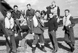 Life on the wing: Pilots of No.19 and No.616 Squadrons pose by a Spitfire. Sitting on the wing (left to right) are Brian Lane, 'Grumpy' Unwin and Francis Brinsden - with Flash the Alsatian and Rangy the Spaniel. In front, are Bernard Jennings, Colin MacFie, Howard Burton and the American volunteer Philip Leckrone. Three of the men - Lane, Burton and Leckrone - did not survive the war. MacFie went on to fly with Bader's Tangmere Wing until he was shot down in combat and captured in July 1941