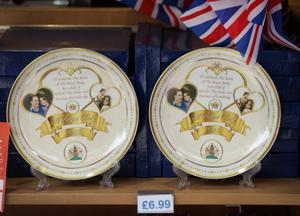 LONDON, ENGLAND - JULY 15:  A shop displays plates celebrating the impending royal birth as the UK prepares for the birth of the first child of The Duke and Duchess of Cambridge at  on July 12, 2013 in London, England.  (Photo by Peter Macdiarmid/Getty Images)